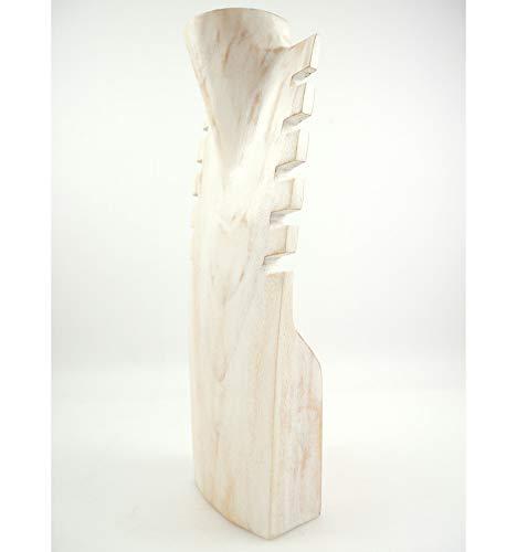 Artisanal Buste pr/ésentoir /à Colliers crant/é en Bois Massif Blanc c/érus/é H40cm