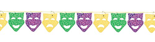 Mardi Gras Party Mask Garland, 9'