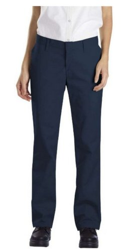 Dickies Occupational Workwear FP322NV 4 RG Polyester/Cotton Relaxed Fit Women's Industrial Flat Front Pant with Straight Leg, 4 Regular, 31-1/2