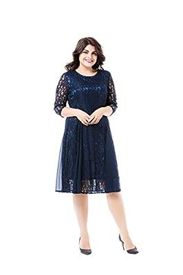 Esprlia Plus Size Women's Lace 3/4 Sleeves Midi Business Cocktail Short Formal Lace Dress