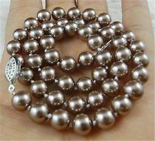 Champagne South Sea Shell Pearl Necklace AAA+ ()