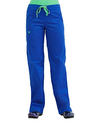 Med Couture Drawstring Signature Scrub Pants for Women, Royal/Key Lime, X-Small (Key Shoes Lime Womens)