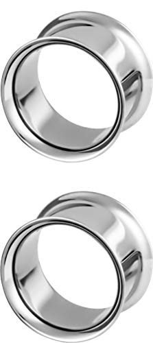 Forbidden Body Jewelry 3/4 Inch (19mm) Surgical Steel Mirror Finish Double Flared Tunnel Plug Earrings