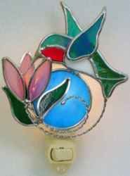 Ruby Throated Hummingbird Night Light in Stained Glass