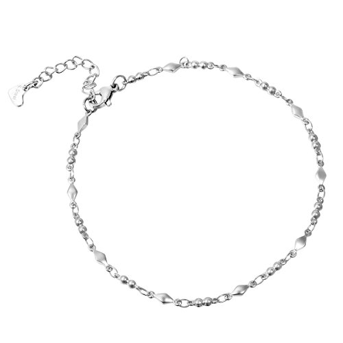 HooAMI Stainless Steel Silver Bead Link Chain Anklet Adjustable 24cm+4cm