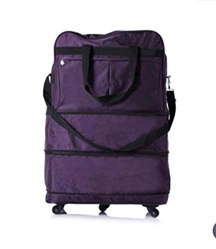ZXY Waterproof Expandable Wheeled Oversized Travel Duffel Luggage Bag 32Inch,Purple -