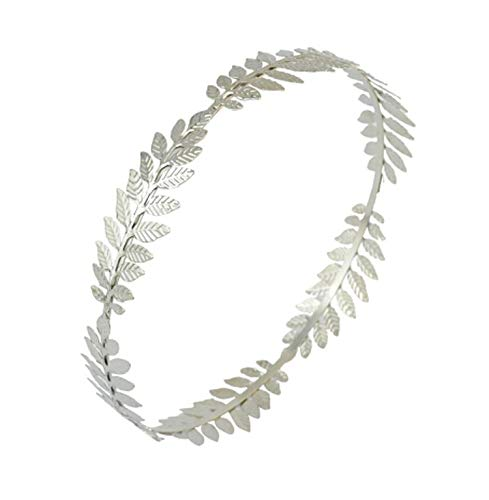 - Greek Roman Goddess Olive Leaf Branch Hairband Crown Headpiece Bridal Wedding Headband,0369 SIlver