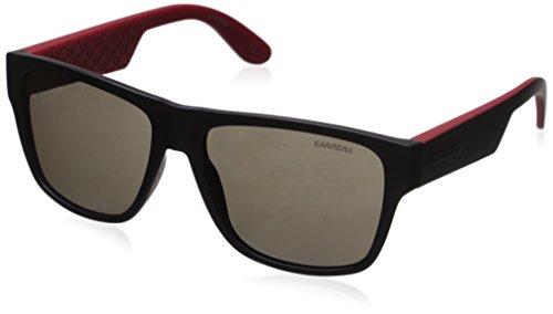 Carrera Men's Ca5002ls Rectangular Sunglasses, Black Red/Brown Gray, 57 - And Black Red Sunglasses Carrera