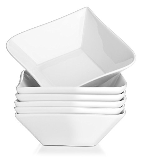 DOWAN 14-Ounce Porcelain Square Bowls for Cereal, Dessert, Set of 6, White (Square Cereal Bowl)
