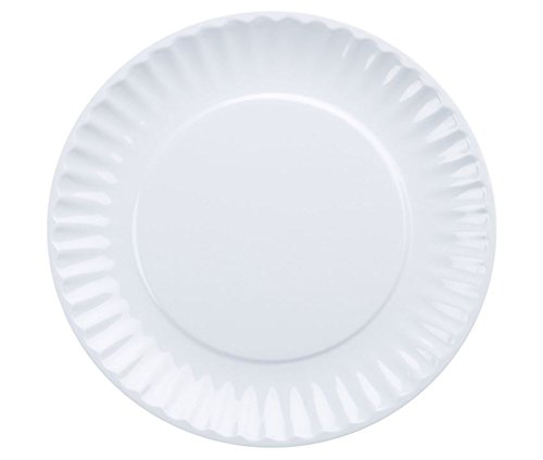 DII Melamine Reusable Party or Picnic Plate, Set of 6, White