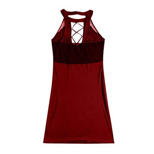 ballsFHK Fashion Women Sexy Solid Plus Size Sleeveless Halter Mesh Hollow Mini Dress Casual Bodycon Club Dresses L-5XL Red