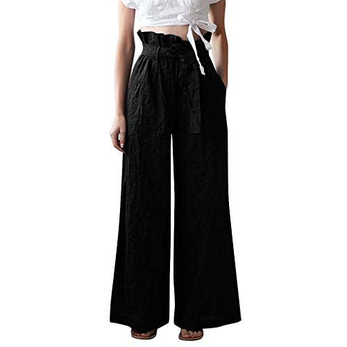 (TIFENNY Straight Pants for Women Wild Fashion Casual Loose Cotton Linen Sweatpants Solid Color Cropped Trousers Black)