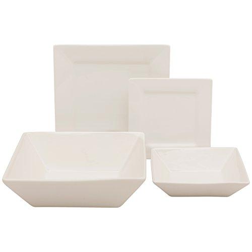 10 Strawberry Street Square 19 Piece Dinnerware Set, Cream White