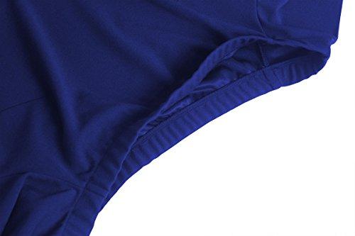 Blue cintura hombro alta cóctel de Vestido Mujer manga Rojeam del de vwqafPXXx