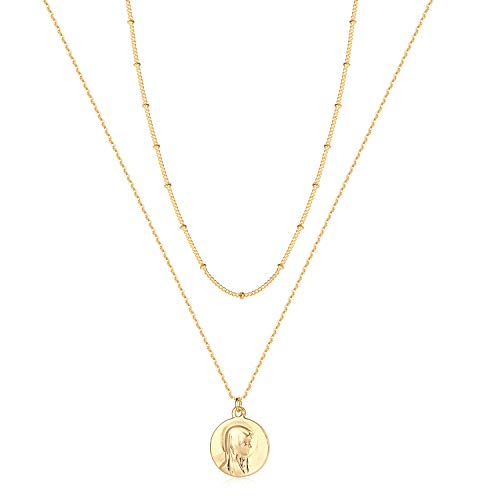 Befettly Virgin Mary Charm Layered Necklace 14K Gold Fill Dainty Hammered Cute Beads Chain Layering Necklace