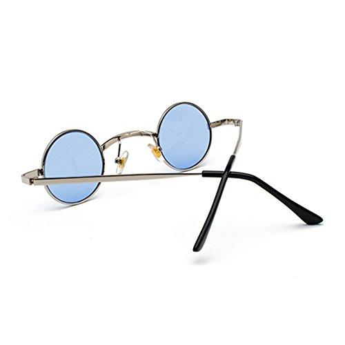 Lente Aiweijia de Gafas Marco policarbonato de Gafas de redondas metal pequeñas Plateado Azul unisex sol ZrrwYqS8