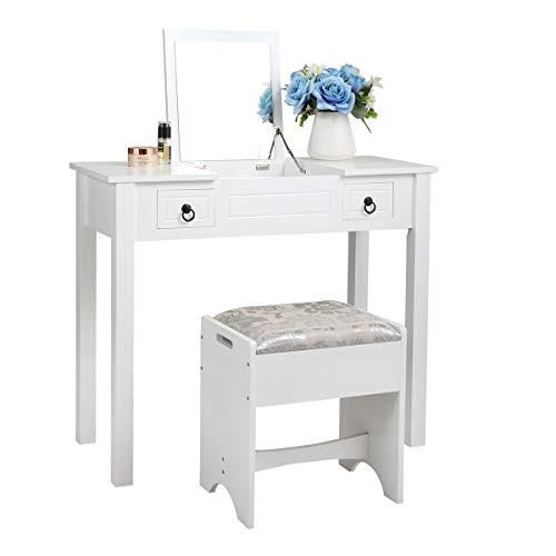 Sandinrayli Vanity Table Set Makeup Desk Flip Top Mirror Table Set Writing Desk with Stool Bench 2 Drawers White Finish