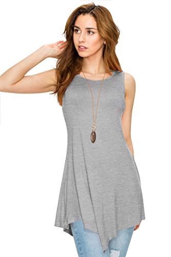 WT671 Womens Handkerchief Hem Tank Tunic Top XS HEATHER_GRAY
