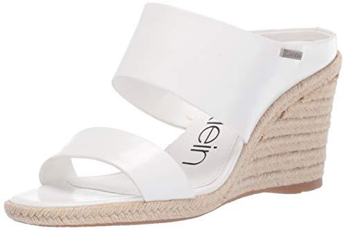 Calvin Klein Women's Brooke Wedge Sandal, White Varnished Crackle Leather 9 M US