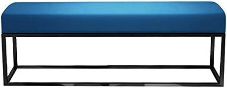 収納ベンチ メタルフレーム脚オスマン帝国で埋めシートベッドエンドスツールソファロングベンチ席 柔軟 多用途 (Color : Blue, Size : 100x35x45cm)