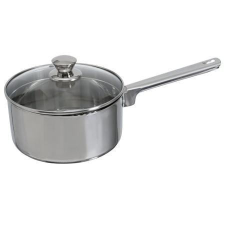 Mainstays Stainless Steel 3-Quart Sauce Pan with Straining Lid