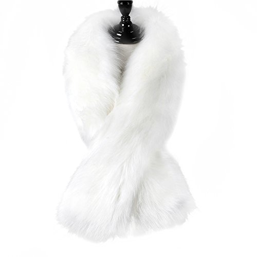 Caracilia Women Luxury Faux Fur Fashion Warm Long Scarf Shawl Wrap White 120CA97 (White Fur Faux)
