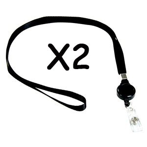 Cosmo Center - Cosmos 2 pcs Black Retractable Elastic Neck Strap Band Lanyard For ID Card, Badge, Factory Worker, Students, Office Worker
