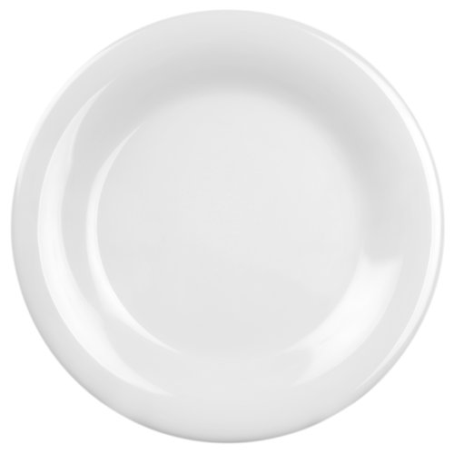 Excellanté White Melamine Collection 10-1/2-Inch Wide Rim Round Plate, White, - Melamine Rim Plate Wide Round