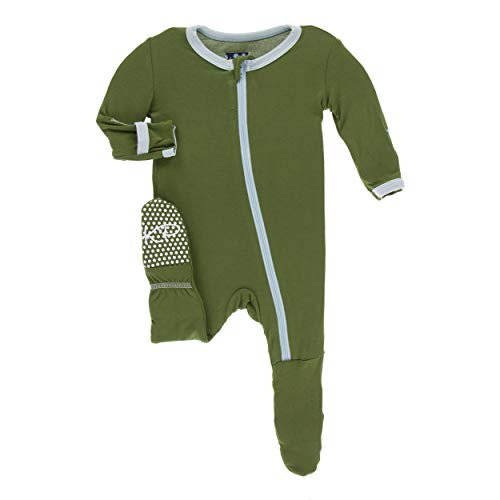 Kickee Pants Little Boys Solid Footie with Zipper - Moss with Spring Sky, 9-12 Months]()