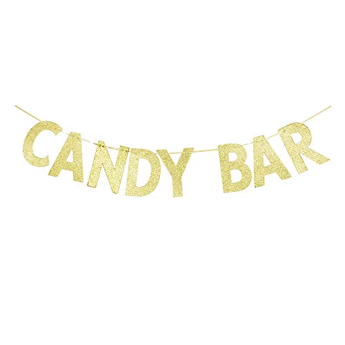 (Candy Bar Banner, Candy Theme Party Sign, Kids/Children Birthday Decors, Wedding/Engagement/Baby Shower Sign Garland Gold Gliter Paper)