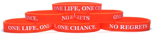 (TheAwristocrat 6 Pack ONE Life, ONE Chance. NO Regrets Inspirational Silicone Wristband Rubber Bracelet (Orange, Youth (7