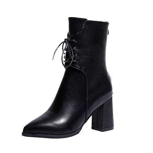 Women's High Heel Boots,Sunyastor Fashion Ladies Leather High Heel Shoes Pointed Toe Lace-Up Boots Chunky Heel Ankle Booties