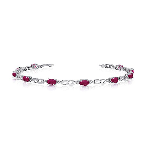 10K White Gold Oval Ruby and Diamond Link Bracelet (6 Inch Length)
