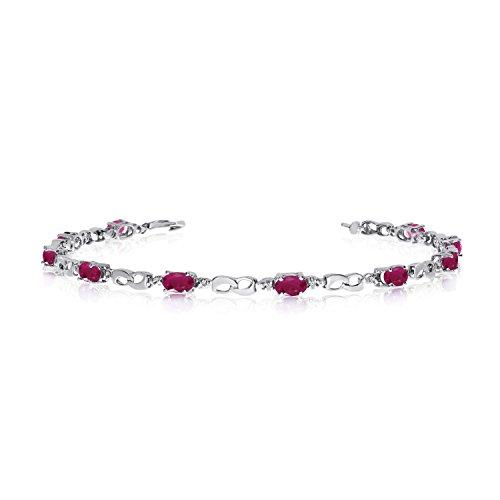 10K White Gold Oval Ruby and Diamond Link Bracelet (6 Inch Length)