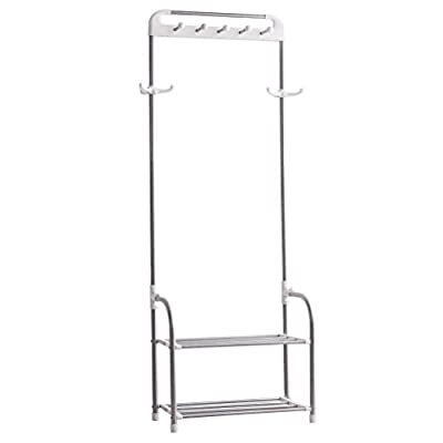 Baoyouni Metal Entryway Coat Rack Hall Tree Stand Hat Jacket Robes Hanger Hooks 2-Tier Shoe Storage Shelves Organizer (Ivory & Silver) - Material: ABS+PP+430 composite tube+stainless steel tube; Color: Ivory You can hang clothes, hats, scarves, bags and other clothing on the top, the round head hanging clothes, does not hurt the clothing; Below can store shoes and storage boxes Can be placed on the entrance of the door or in the bedroom against the wall - hall-trees, entryway-furniture-decor, entryway-laundry-room - 31Ql TLsqeL. SS400  -