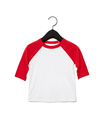 Bella Canvas Toddler Side Seamed Baseball T-Shirt, 5T, White/Red (Bella Baseball T-shirt)