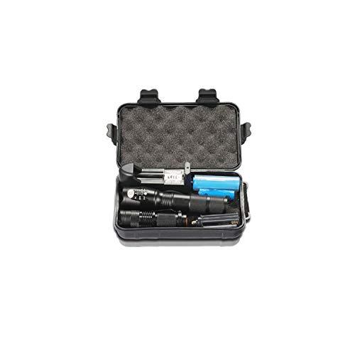 10000 Lumens Flashlight Torch L2/T6 Zoomable Flashlight Rechargeable Minipenlight 18650 Battery 2Pcs,B ()