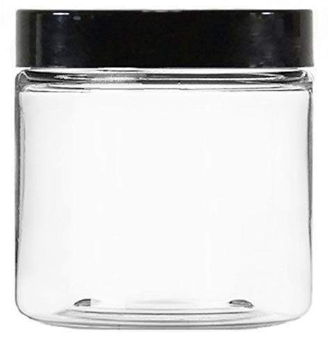Clear 8 oz Plastic Jars with Black Lids 40 pk with Mini Jars – PET Round Refillable Containers