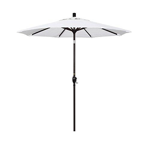 - California Umbrella 7.5' Round Aluminum Market Umbrella, Crank Lift, Push Button Tilt, Bronze Pole, Pacifica Natural