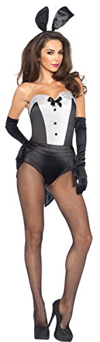 Leg Avenue Women's 3 Piece Classic Bunny Costume, Black/White, (3 Piece Bunny Costumes)