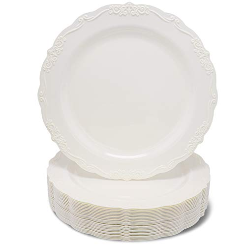 Juvale 25-Pack Elegant Vintage Plastic Dinner or