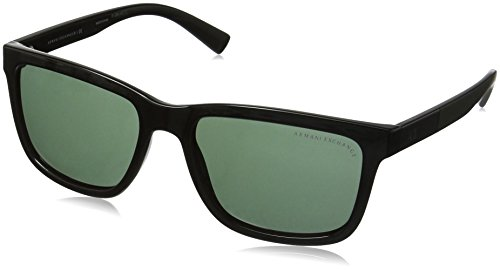 Armani Exchange Men's Injected Man Rectangular Sunglasses, Black, 56 mm