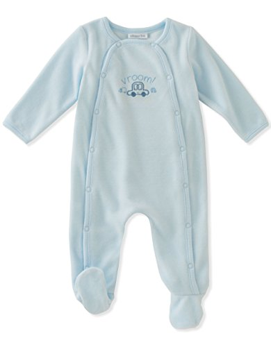 Absorba Baby Boys' Velour Footie, Powder Blue, 0-3 Months