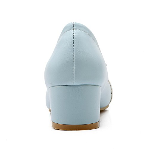 Toe Women's Soft Low WeenFashion Heels on Material Pull Blue Round Pumps Closed Shoes zddxwar