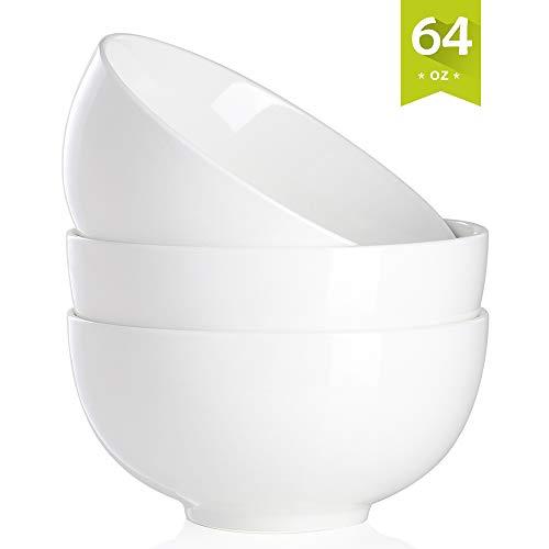Malacasa 64-Ounce Porcelain Big Bowl Set 8 Inch Soup Bowls for Rice, Ice Cream, Dessert, Salad, Fruit, Dip, 3 Packs, ()