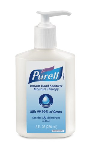 PURELL Instant Hand Sanitizer Moisture Therapy, Refreshing Gel, 8 fl oz Sanitizer Table Top Pump Bottles (Case of 12) – 9552-12 ()
