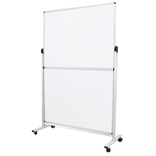 VIZ-PRO Mobile Room Divider/Office Partition, Double-sided Magnetic Whiteboard 48