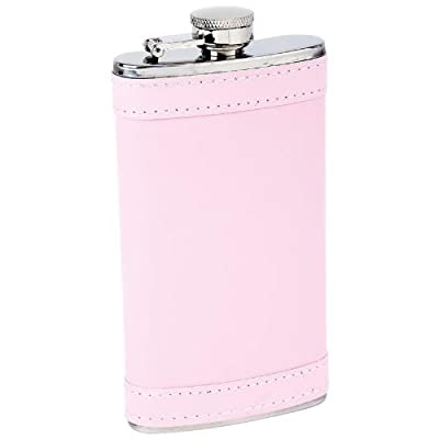 Maxam KTFLKPW6 6oz Stainless Steel Flask with Pink Wrap