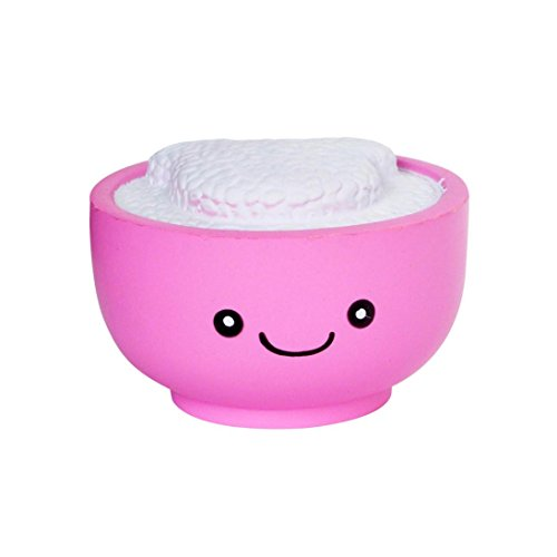 Roysberry - Jumbo Slow Rising Squishies Pink Rice Bowl, Cute Stress Relief Toys Ball Super Soft Kawaii Macaroon Squishies Toys Stress Squishy Ball for Adults 3D Puzzle Toys for Kids -