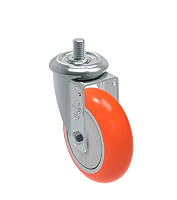 "Schioppa GLEED 412 UPE L12 Series 4"" x 1-1/4"" Diameter Swivel Caster, Non-Marking Polyurethane Precision Ball Bearing Wheel, 3/8"" Diameter x 1"" Length Threaded Stem, 275 lb"